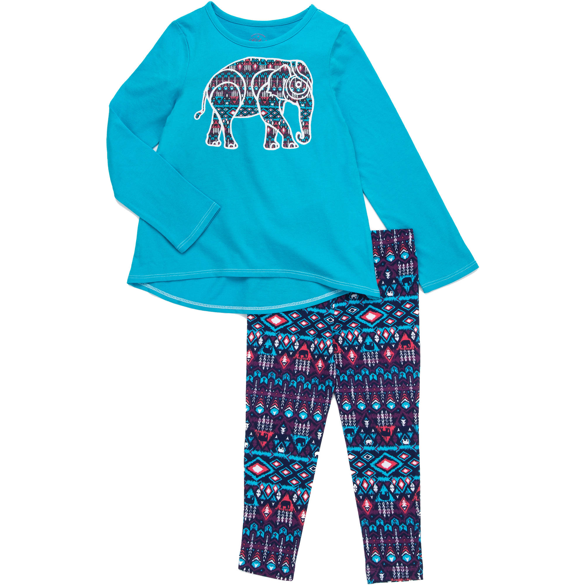 Faded Glory Girls' Long Sleeve Hi Lo Top and Legging Set