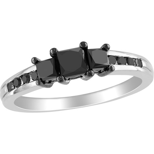 1 Carat T.W. Princess- and Round-Cut Black Diamond 10kt White Gold Three-Stone Engagement Ring