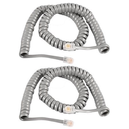 Unique Bargains 2 Pcs Gray RJ9 4P4C Connector Stretchy Coiled Telephone Phone Cable 3 (Best Rated Metro Pcs Phones)