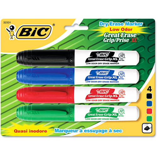 Bic Great Erase XL Low Odor Dry Erase Markers Chisel Tip 4/-Black/Blue/Red/Green