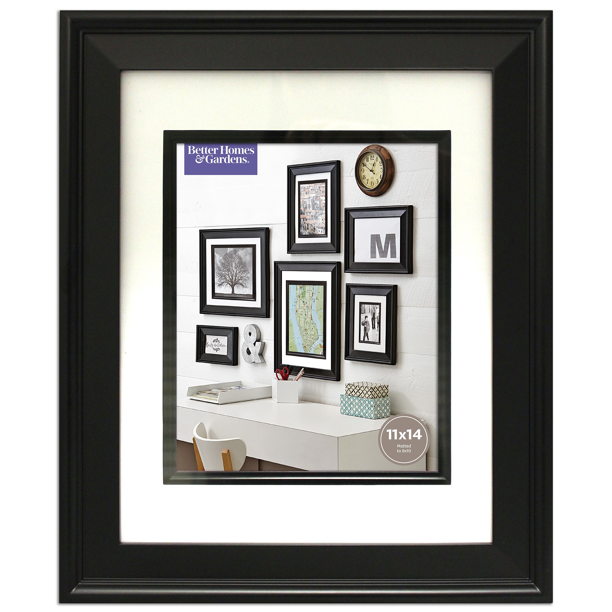 Better Homes and Gardens 11x14 Beveled Picture Frame, Black