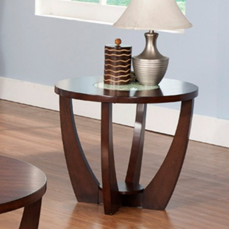 Rnd Glass Top Table (Steve Silver Rafael Round Cherry Wood and Glass End Table)