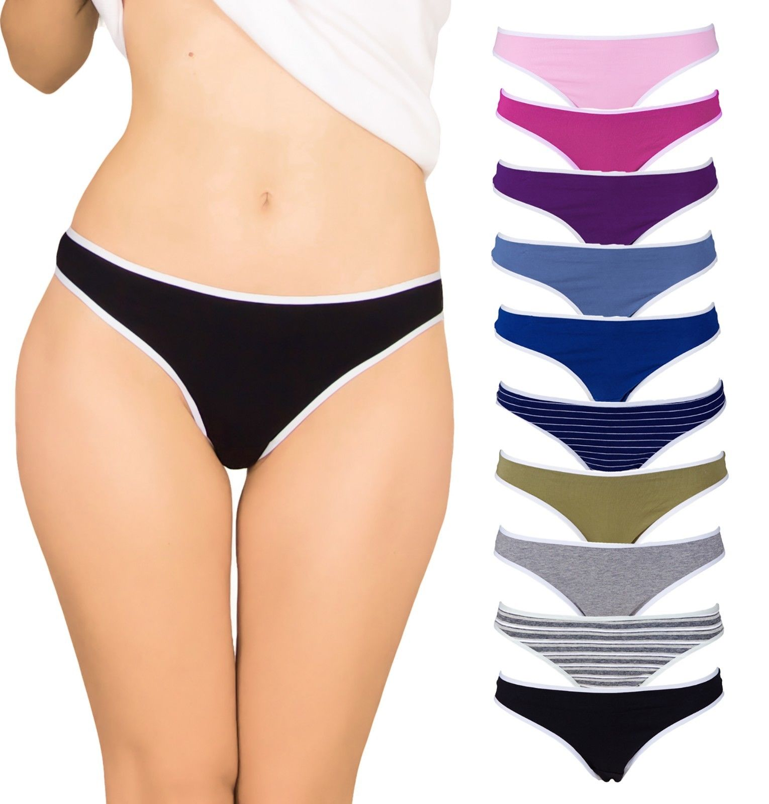 Emprella Womens Underwear Thong Panties - 10 Pack Colors and Patterns May Vary