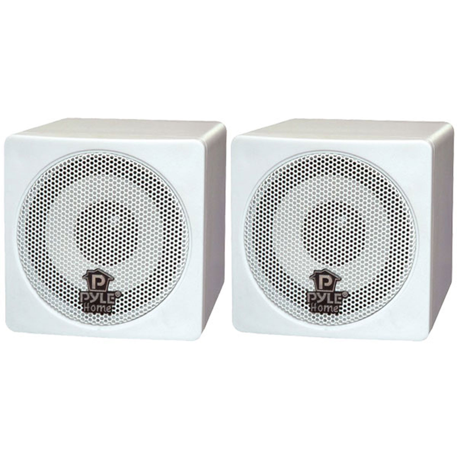 "Pyle 3"" 100 Watt White Mini Cube Bookshelf Speaker In White (Pair) by Pyle"