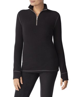 ClimateRight by Cuddl Duds Women's Stretch Fleece Long Sleeve Mock Neck Half Zip Pajama Top