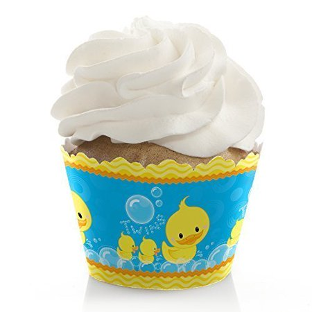 Twin Ducky Ducks - Baby Shower or Birthday Party Cupcake Wrappers - Set of 12