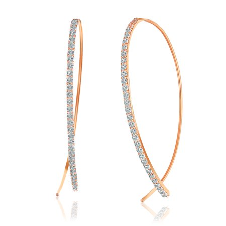 Cubic Zirconia Curved Bar Pull Though Earring in Rose Gold over Sterling Silver