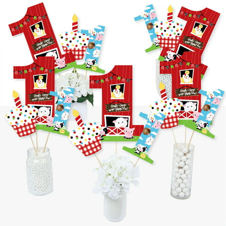 1st Birthday Farm Animals - Barnyard First Birthday Party Centerpiece Sticks - Table Toppers - Set of 15