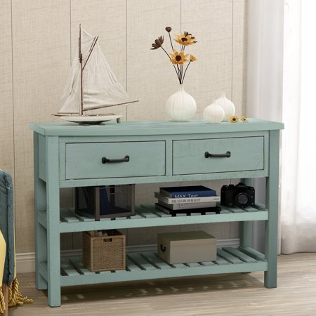 45''x15''x31'' Console Table with Drawers, Tall Entryway Table w/2 Cabinets and Bottom Shelf, Buffet Sideboard Desk w/Solid Wood Frame, Accent Table for Kitchen Dining Room, 99lbs, S5346 ()