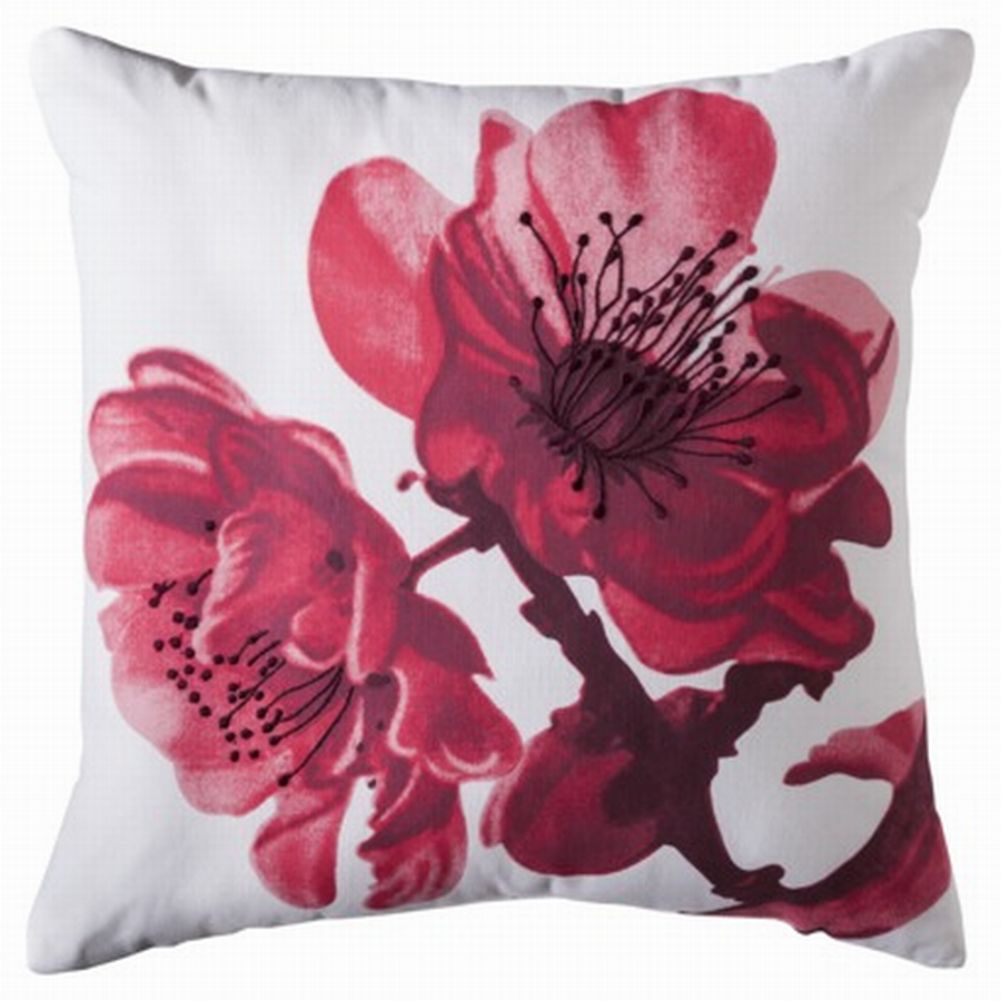 Rich Pink & Red Flower Embroidered Throw Pillow Accent Toss Cushion