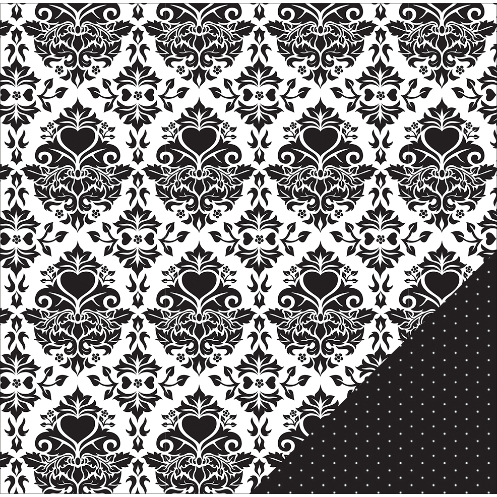 "American Crafts Wedding Double-Sided Cardstock 12""X12""-Black & White Damask"