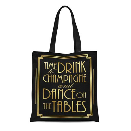 ASHLEIGH Canvas Tote Bag Wedding Gatsby to Drink Champagne Party Signs Roaring 20S Reusable Handbag Shoulder Grocery Shopping Bags - 20s Themed Wedding