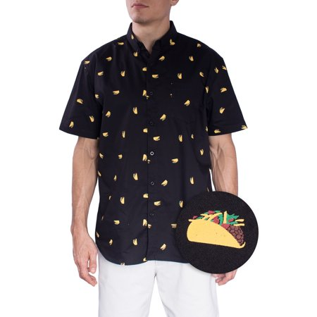 Hawaiian Shirts For Mens   Taco Short Sleeve Button Down Modern Fit Woven Shirt  Taco Large