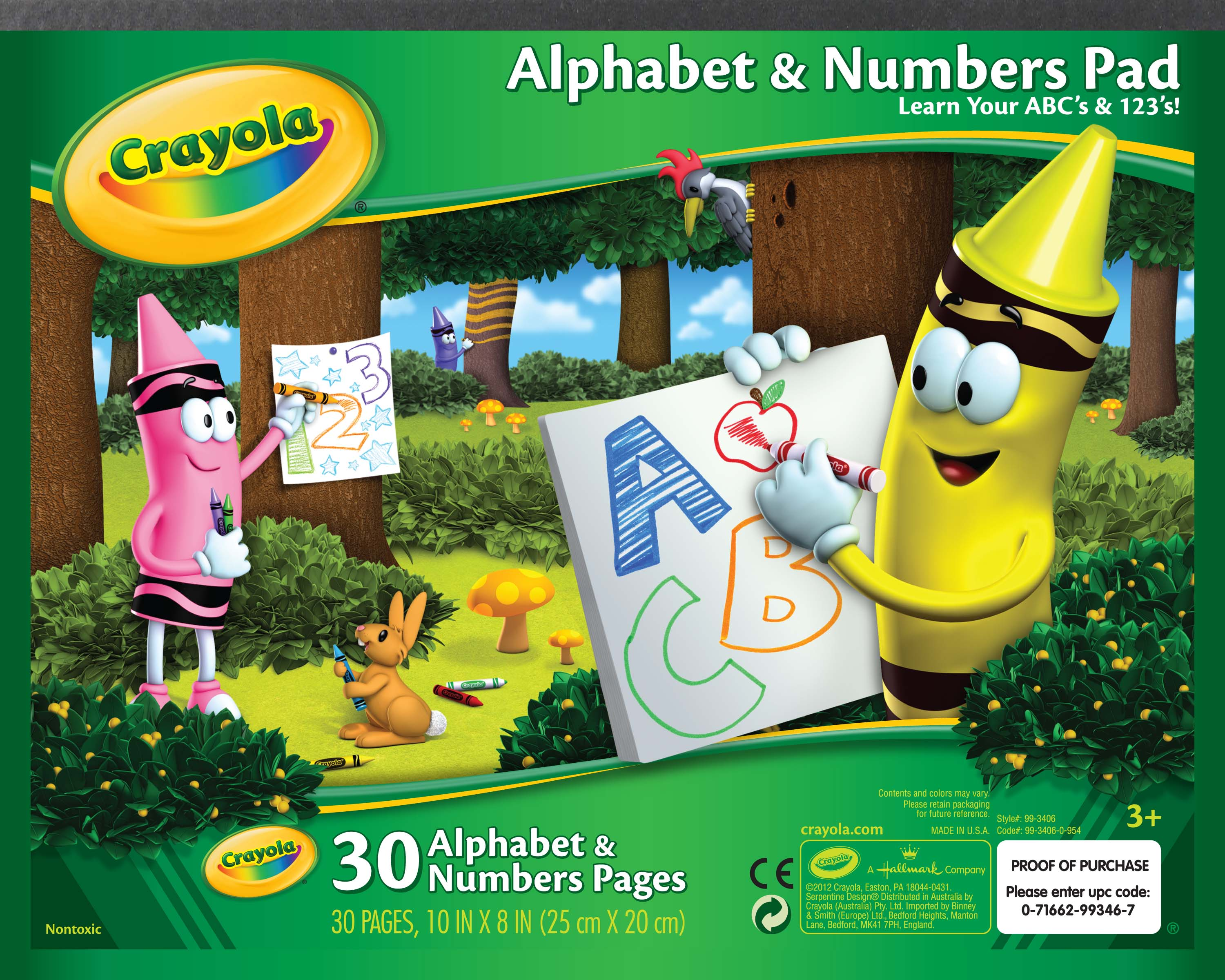 Crayola Alphabet and Numbers Pad, Learn your ABC's and 123's, 30 pages by Crayola