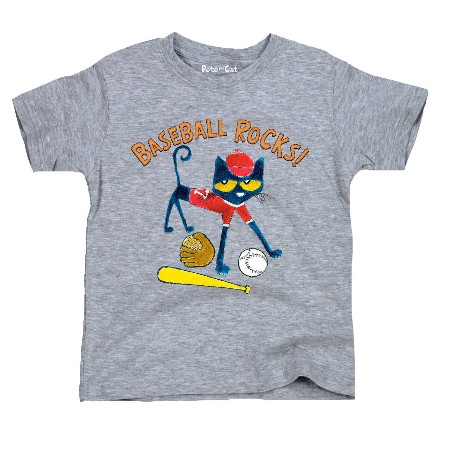 Pete The Cat Baseball Rocks! - Toddler Short Sleeve Tee
