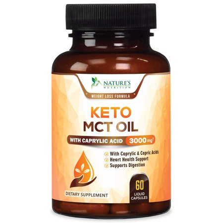 Nature's Nutrition Pure Keto MCT Coconut Oil Capsules, 3000 mg, 120 (Best Coconut Oil Capsules)