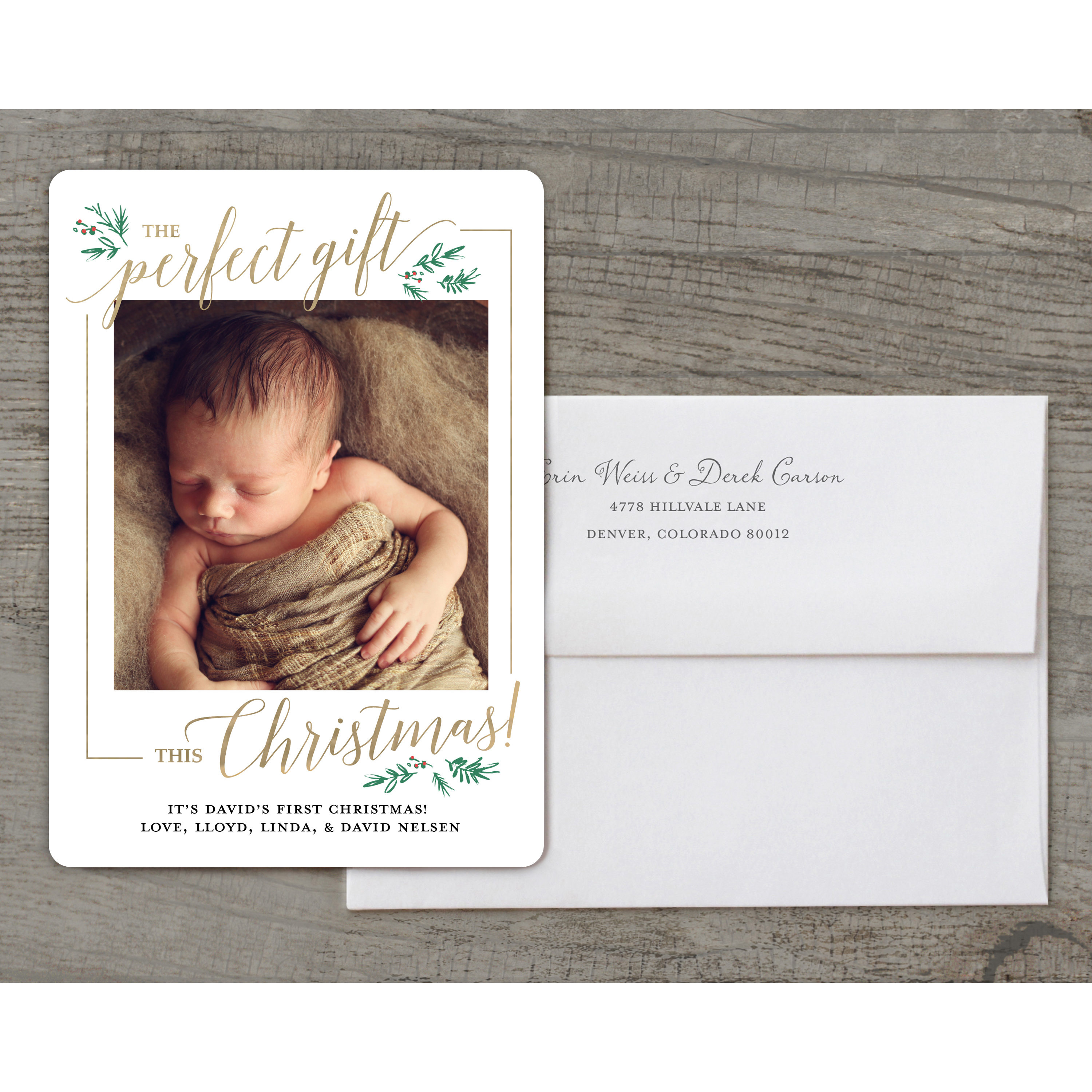 Baby's First - Deluxe 5x7 Personalized Holiday Baby's First Christmas Card