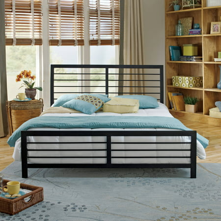 Premier Faith Metal Platform Bed With Bonus Base Wooden Slat Support  Multiple Sizes