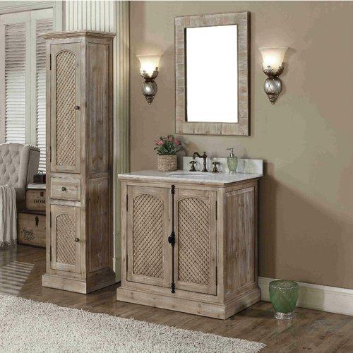 Loon Peak Vice 37 Single Bathroom Vanity Set With Linen Tower