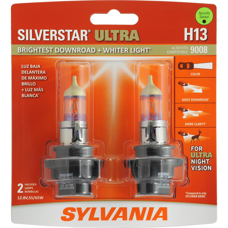 SYLVANIA H13 SilverStar ULTRA Halogen Headlight Bulb, Pack of 2
