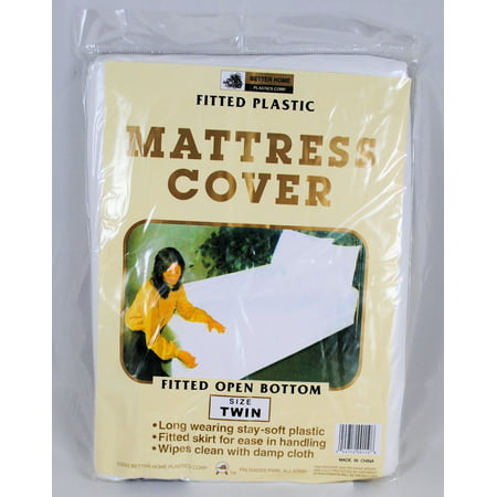 Twin Mattress Cover White Fitted Plastic Protector (Twin Plastic Mattress Cover)