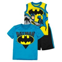 Batman Shirt, Tank Top and Shorts Set - Toddler/ Little Boys, 2T (Yellow)