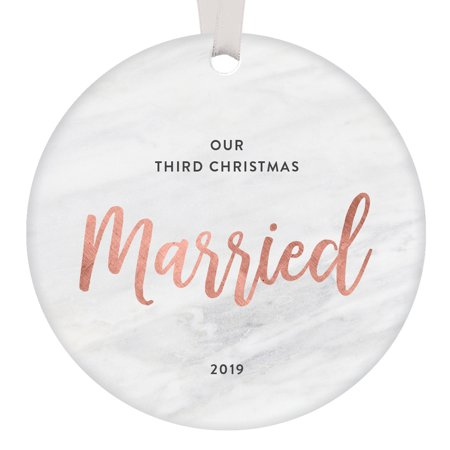 Our Third Christmas Married 2019 Ornament 3rd Holiday Husband Wife Happy Anniversary Party Gift Idea 3 Years Marriage Pretty Modern Rose Gold Marble Keepsake Present 3