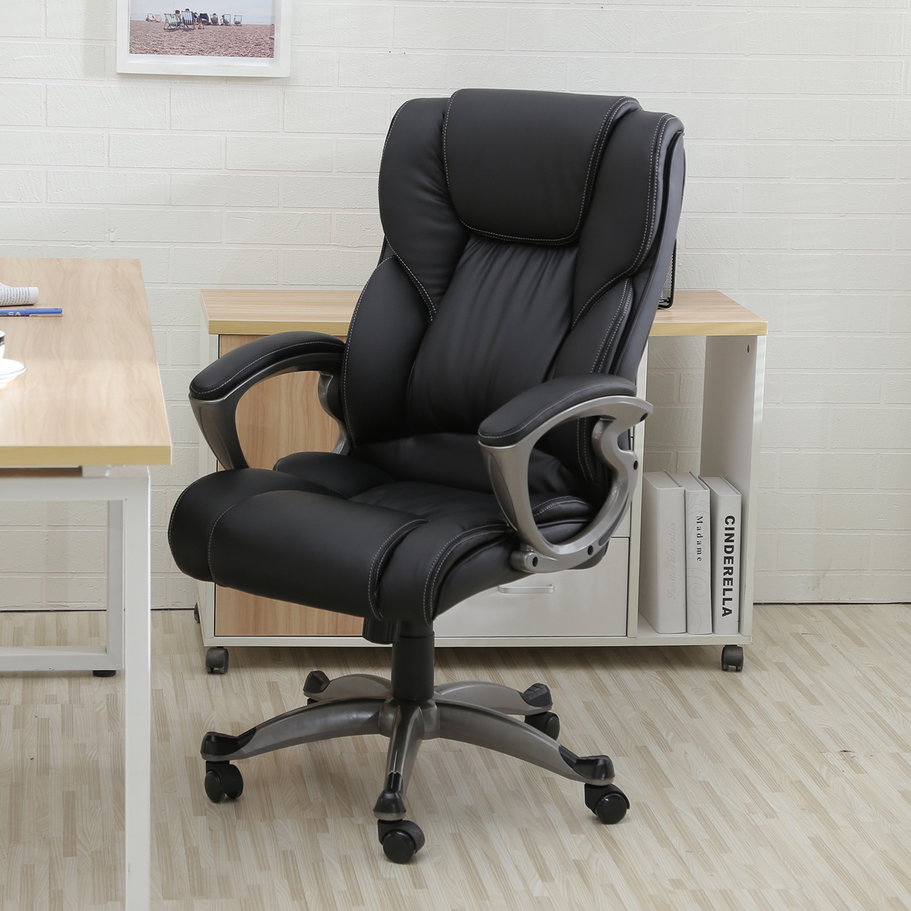 Belleze High Back Executive Faux Leather Office Chair, Black   Walmart.com