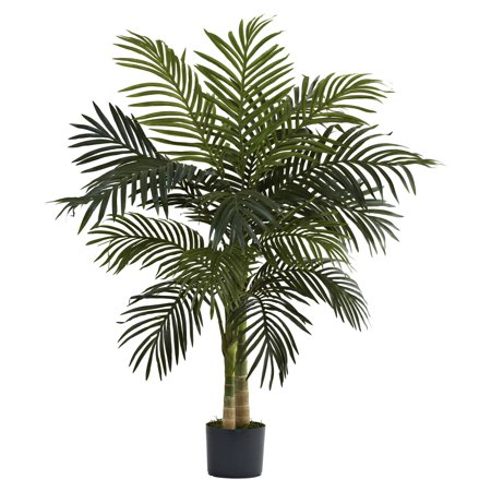 - Nearly Natural 4-ft. Artificial Golden Cane Palm Tree