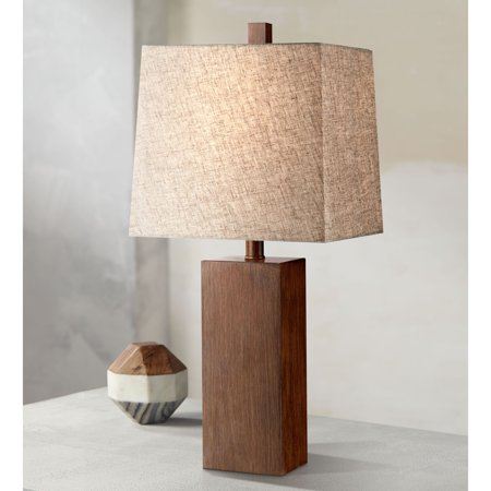 360 Lighting Modern Table Lamp Rectangular Block Wood Textured Tan Fabric Shade for Living Room Family Bedroom Bedside Office