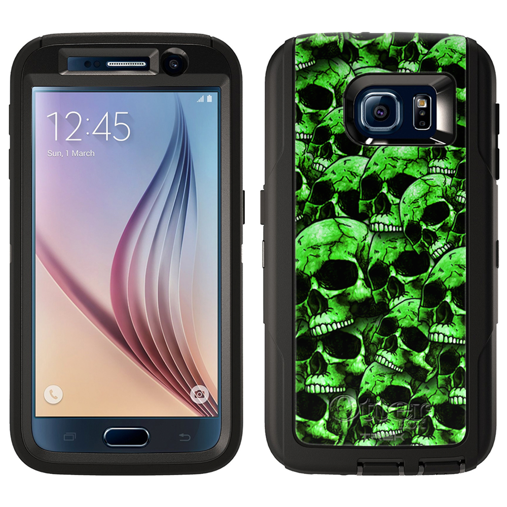 OtterBox Defender Samsung Galaxy S6 Case - Green Skulls on Black OtterBox Case