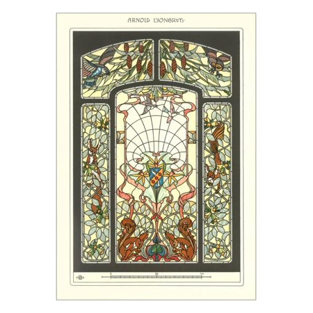 Art Nouveau Stained Gl Print Wall