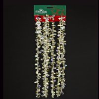 Club Pack of 12 Good Tidings Gold and Iridescent Faceted Beaded Christmas Garland 9'