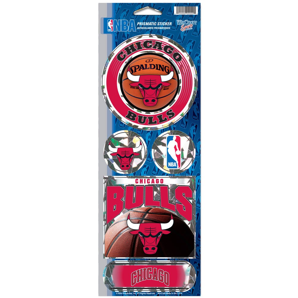 Chicago Bulls Official NBA 4 inch x 10 inch  Prismatic Car Decal Set by WinCraft