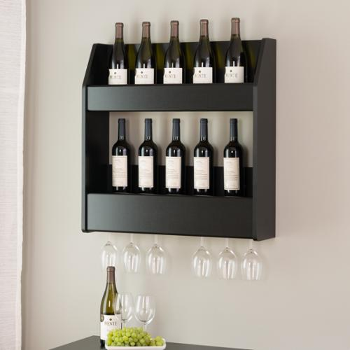 Prepac Broadway Black Floating Wine and Liquor Rack by Overstock