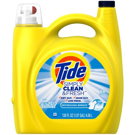 Tide Simply Clean   Fresh He Liquid Laundry Detergent  Refreshing Breeze Scent  89 Loads  138 Fl Oz