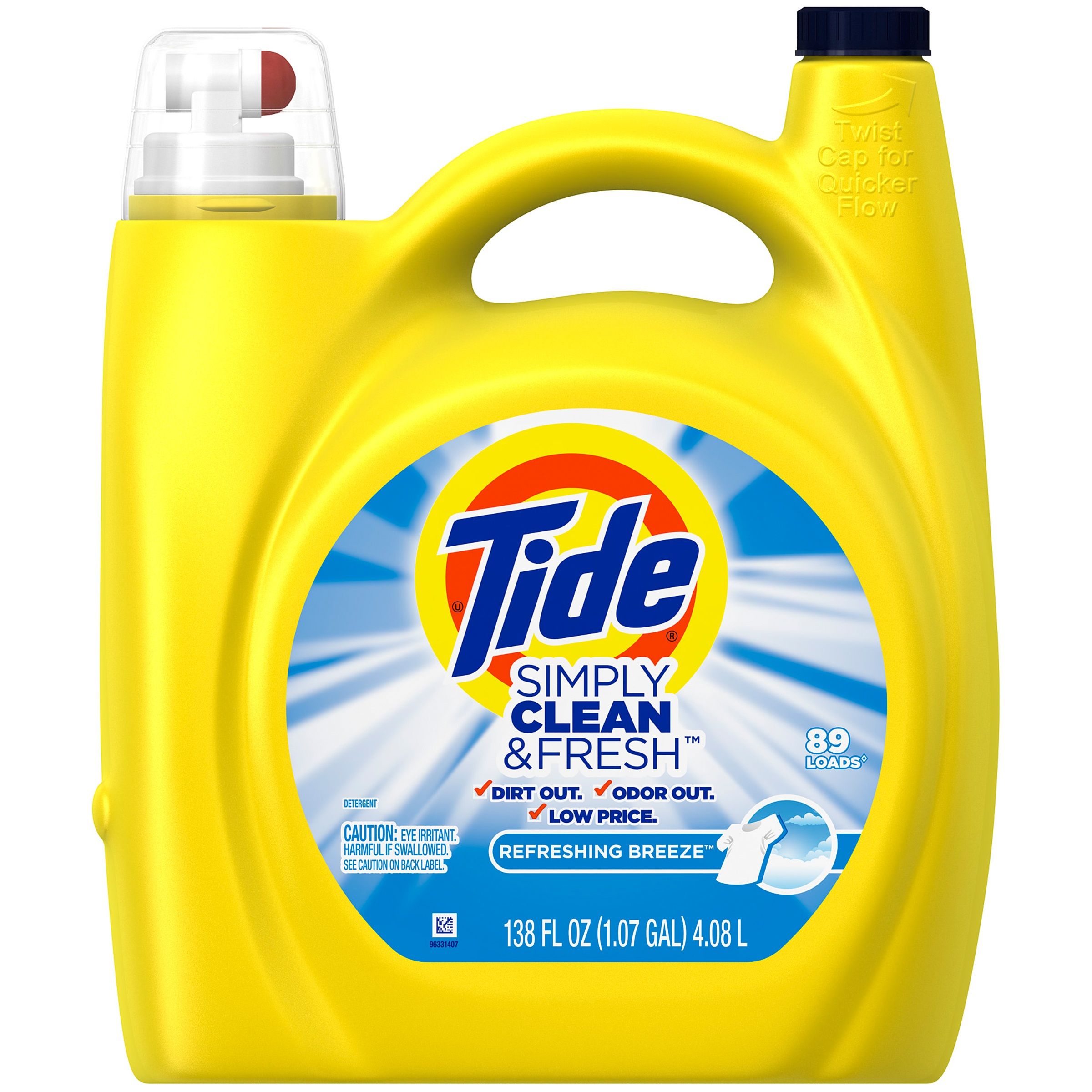 Tide Simply Clean & Fresh HE Liquid Laundry Detergent, Refreshing Breeze Scent, 89 Loads, 138 Fl Oz