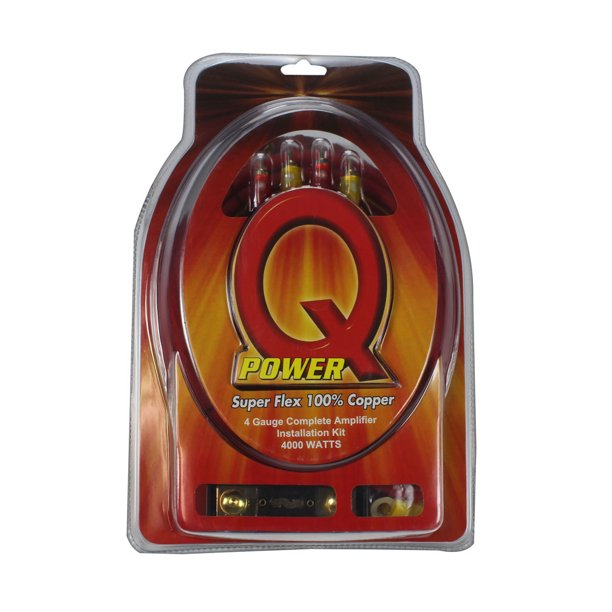 Qpower 4 Gauge Amp Kit 100% Copper Wire