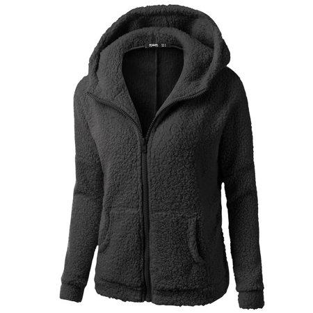 Roseonmyhand Women Hooded Sweater Coat Winter Warm Wool Zipper Coat Cotton Coat Outwear
