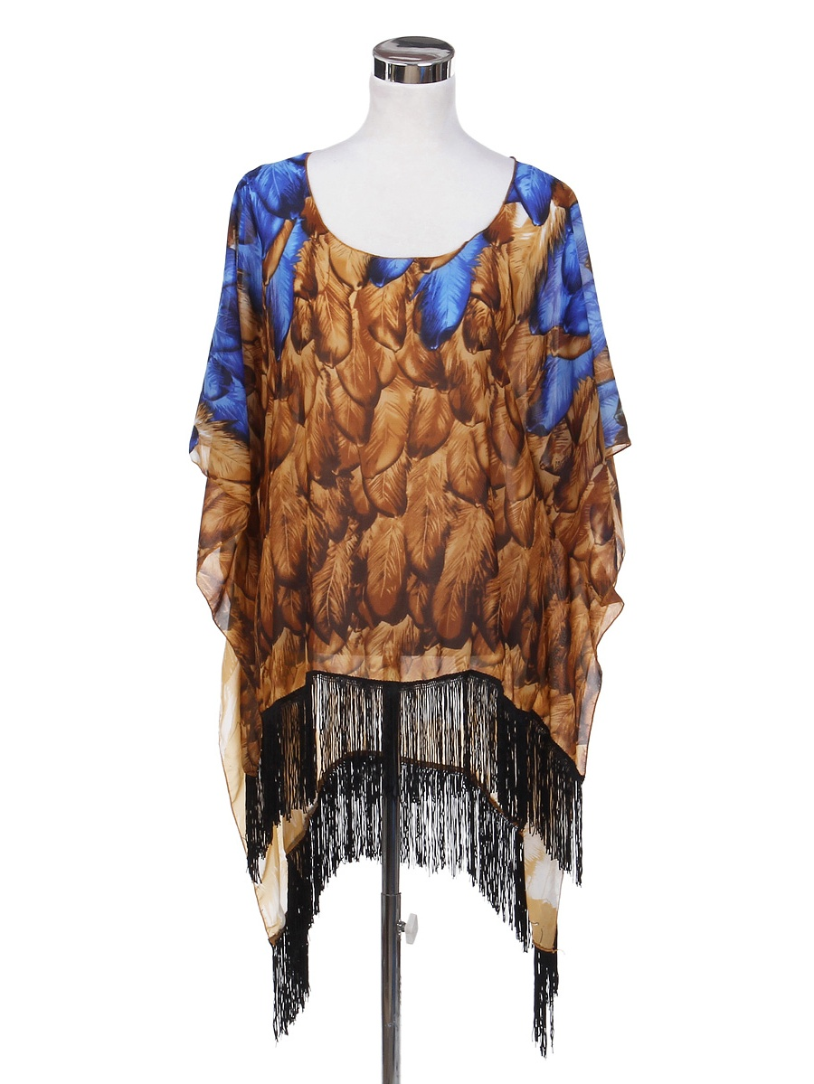TrendsBlue Feather Chiffon Sheer Fringe Kimono Wrap Poncho Blouse Beach Cover Up
