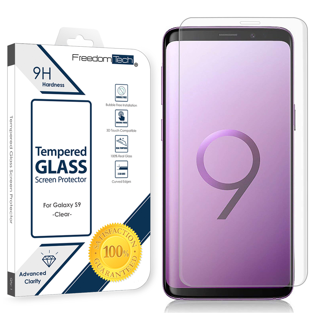 Samsung Galaxy S9 Screen Protector Glass Film Full Cover 3D Curved Case Friendly Screen Protector Tempered Glass for Samsung Galaxy S9 Clear
