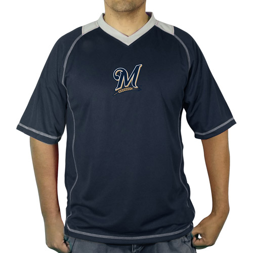 MLB Milwaukee Brewers Men's vneck poly jersey