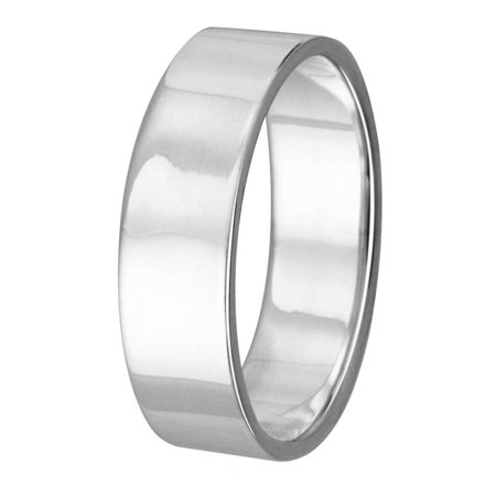 High Polished Sterling Silver 5MM Plain Flat Wedding Band Ring Size - 5mm Flat Band Ring