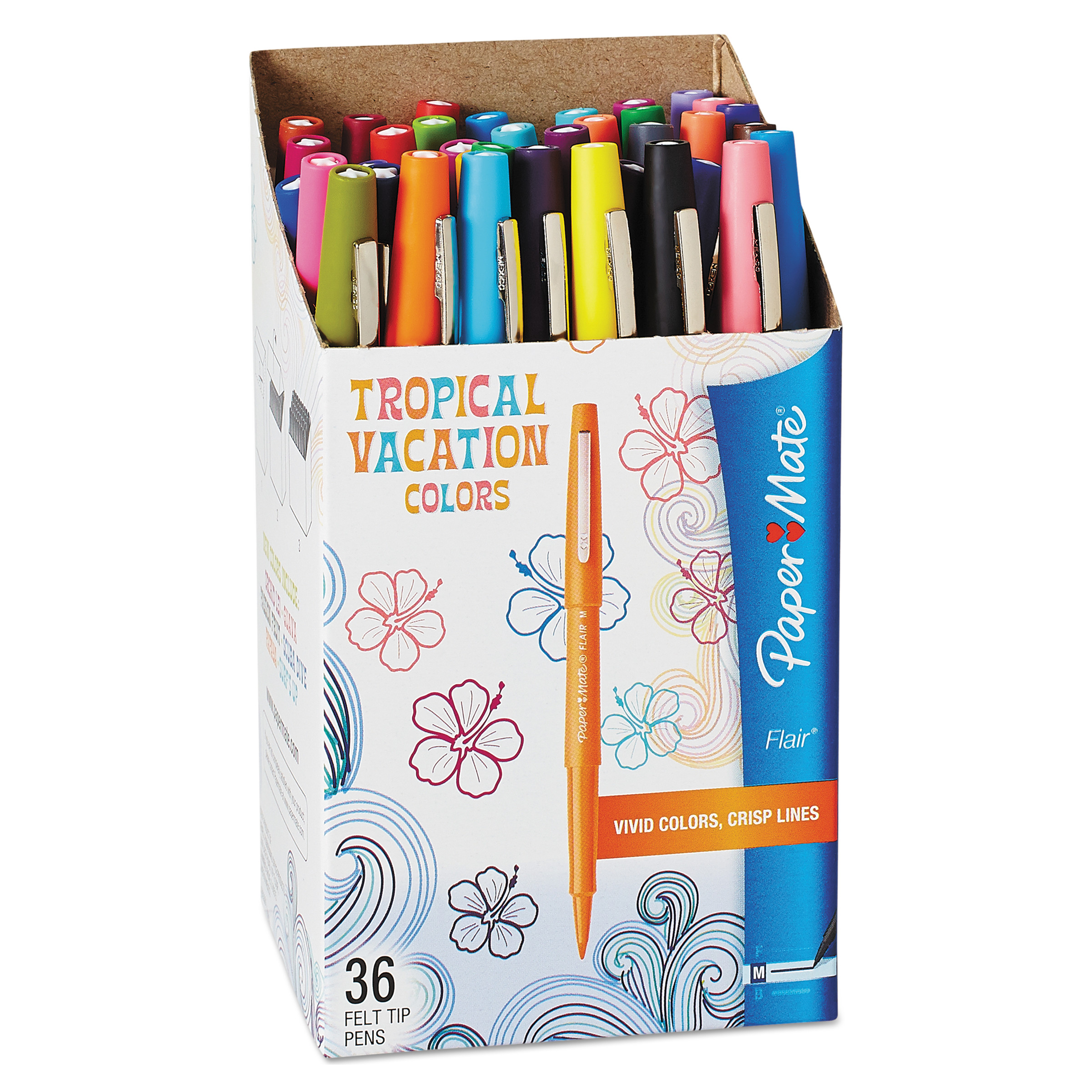 Paper Mate Flair Felt Tip Pens, Medium Point, Limited Edition Tropical & Assorted Colors, 36 Pack