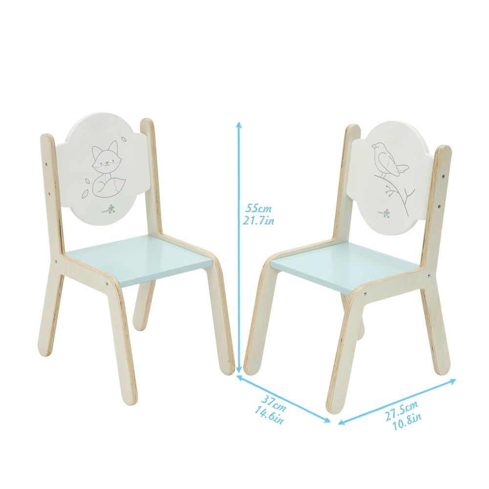 Labebe Wooden Activity Table Chair Set Bird Printed White Toddler With Bin For 1 5