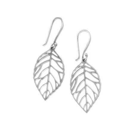 Sterling Silver Leaf Design Earrings - Skeletonized Leaf Design Dangle Earrings Sterling Silver