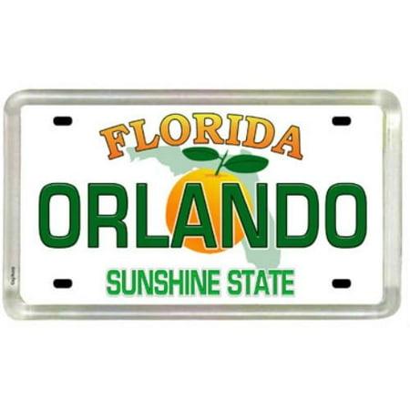 Small Acrylic Magnet - Orlando Florida License Plate Acrylic Small Fridge Collector's Souvenir Magnet 2 inches X 1.25 inches