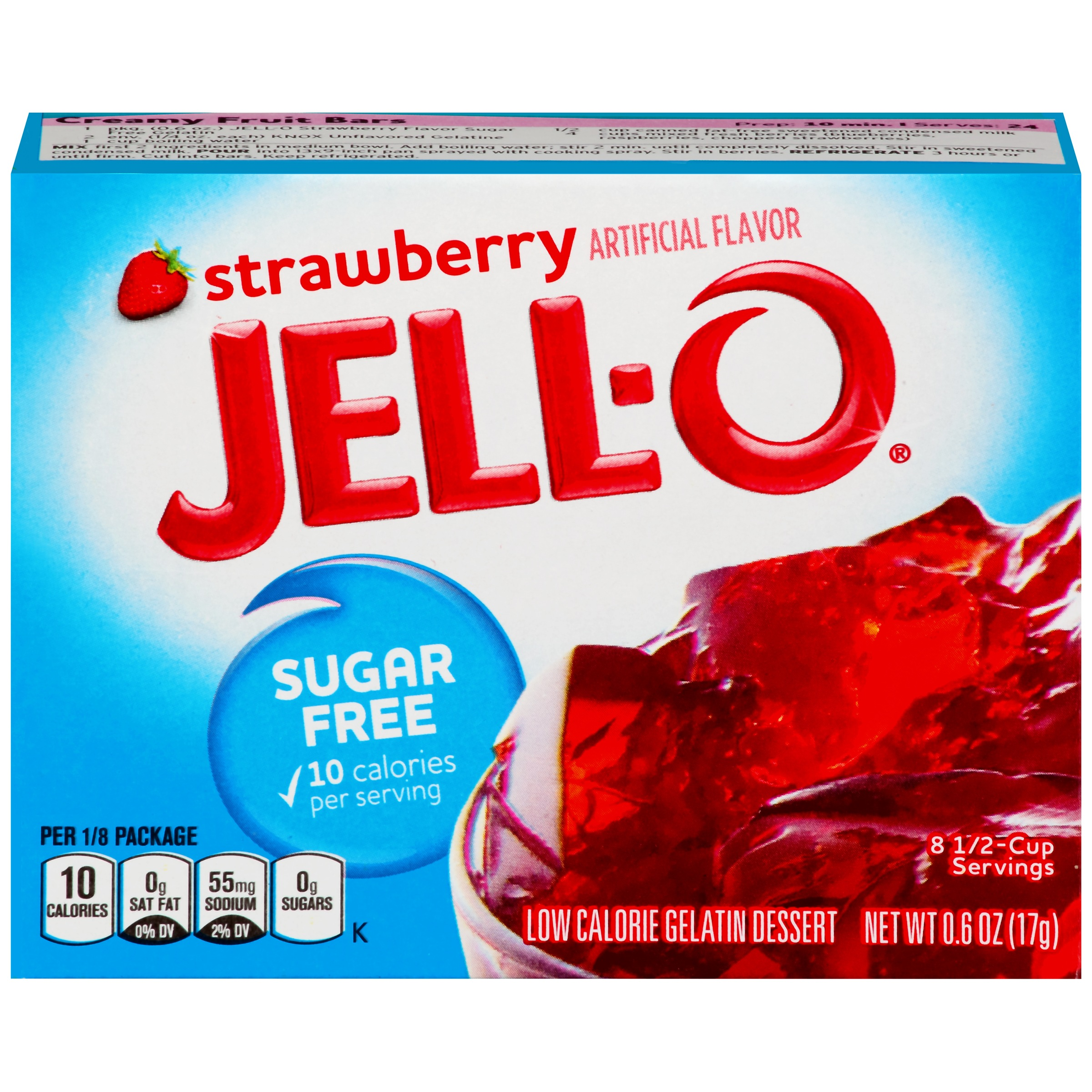 Jell-O Sugar Free Strawberry Low Calorie Gelatin Dessert Mix 0.6 oz. Box