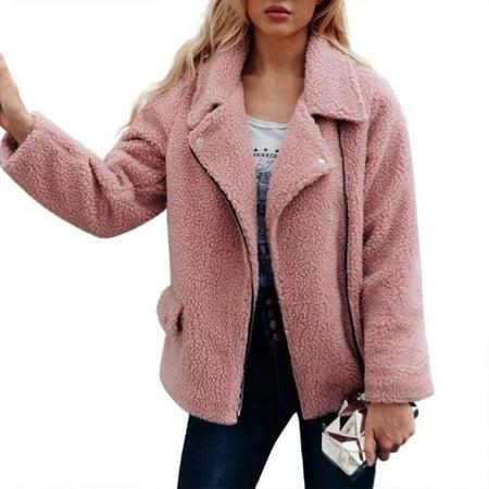 great deals new lower prices factory outlets Women's Plus Size Winter Lapel Long Sleeve Faux Shearling Shaggy Faux Fur  Zipper Hooded Coat Jacket