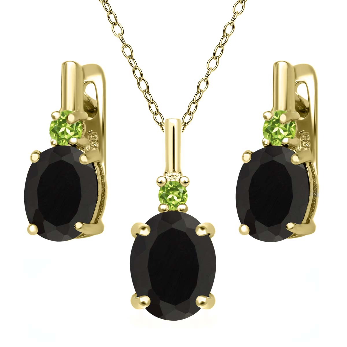 4.96 Ct Black Onyx Green Peridot 18K Yellow Gold Plated Silver Pendant Earrings Set by